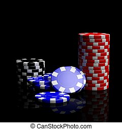 Fine casino gaming checks isolated on black background