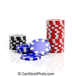 Fine casino gaming checks isolated on white background
