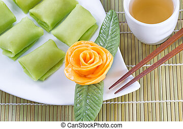Fine Chinese Desserts with Green Tea