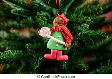 Fine Christmas tree decoration toy in the form of cute cookie