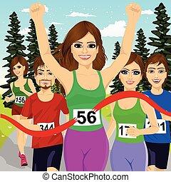 fine, corridore, atleta, vincente, femmina, incrocio, linea, maratona