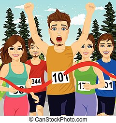 fine, corridore, atleta, vincente, incrocio, linea, maschio, maratona