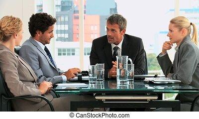 fine, di, uno, riunione affari