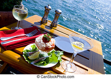 Fine Dining on the Water - Seafood salad and drinks at the...