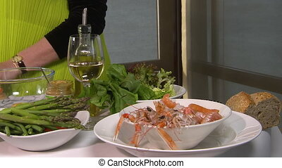 Fine dining with langoustine - A steady shot of a fine...