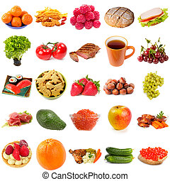 Set of various fine food isolated over white background