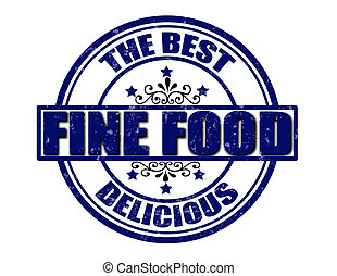 Stamp with text fine food inside, vector illustration