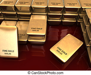Fine Gold - 3D illustration looks a many bars of fine gold.