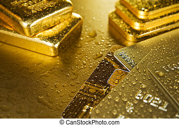 fine gold and credit card - fine gold ingots and credit...