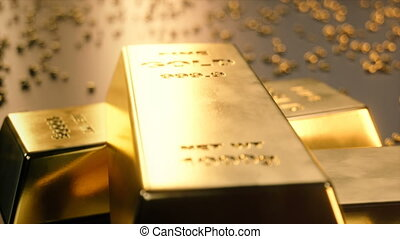 Fine Gold bars 1000 grams on the floor with scattered pieces...