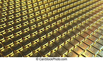 Fine gold bars. Loopable realistic 3D animation - Multiple...