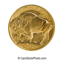 Fine gold Buffalo Gold Coin on white background - Reverse...