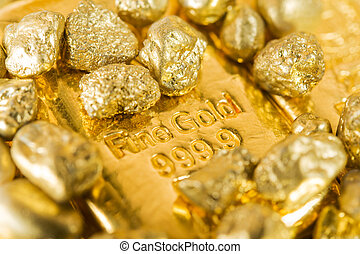 fine gold  - pure gold ingots and nuggets.