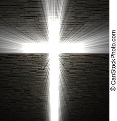 Christian cross of light