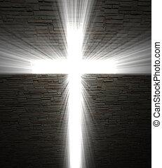 fine image of Christian cross of light background
