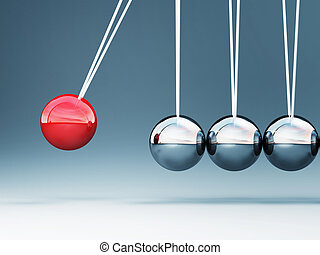 newton cradle - fine image of classic 3d newton cradle...