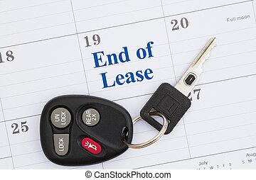 fine, mensile, chiavi automobile, messaggio, calendario, contratto affitto