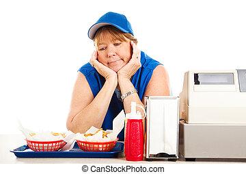 fine morta, fast food, lavoro
