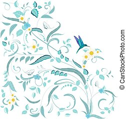 fine nature ornament with flowers and butterflies for your design