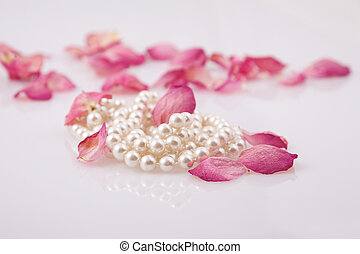 pearl beads and pink roses petals - fine pearl beads and...