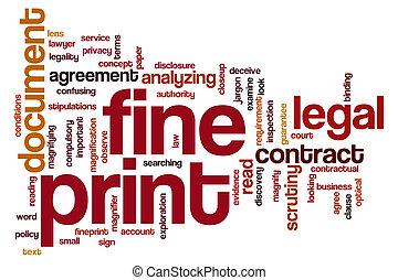 Fine print word cloud concept