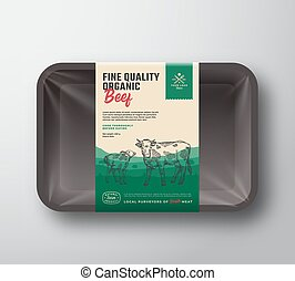 Fine Quality Organic Beef. Abstract Vector Meat Plastic Tray...