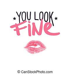fine., rouge lèvres, positif, étoiles, baiser, vous, ...