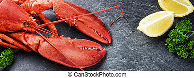 Fine selection of crustacean for dinner. Steamed lobster...