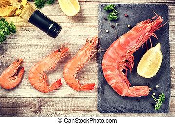 Fine selection of jumbo shrimps for dinner. Food background