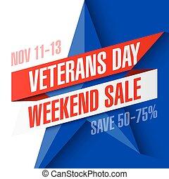 fine settimana, vendita, bandiera, giorno, veterani