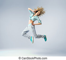Fine shot of a jumping woman