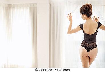 Fine shot of a slim brunette