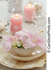 Festive table setting for wedding or other event