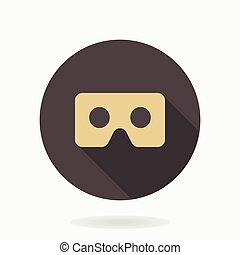 Fine Vector Flat Icon With VR Logo - Golden vector icon with...