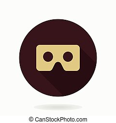 Fine Vector Flat Icon With VR Logo - Fine vector golden icon...