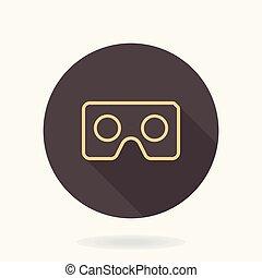 Fine Vector Flat Icon With VR Logo - Fine vector golden icon...
