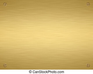 gold plaque - finely brushed gold plaque with screws in the...