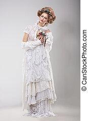 finery., fascinante, senhora, em, elegante, lacy, vestido