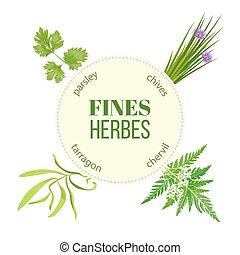 Fines herbes round emblem