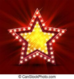 finest, étoile, lumière, hour., signe, retro