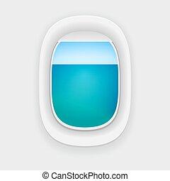 finestra, aereo, vista mare