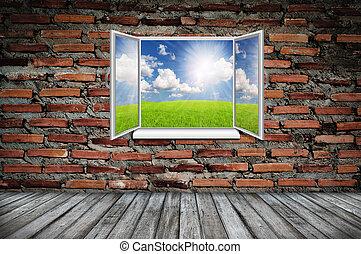 finestra aperta, da, vecchio, stanza, con, paesaggio, su, uno, fondo