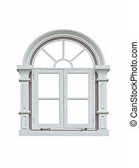 finestra, bianco, cornice, classico