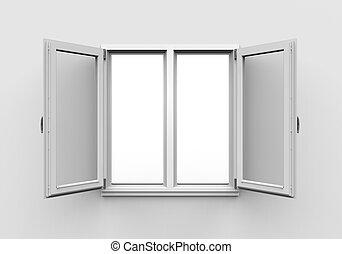 Aperto legno doppio isolato finestra fondo bianco for Finestra legno bianco