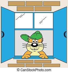 finestra, cartone animato, gatto