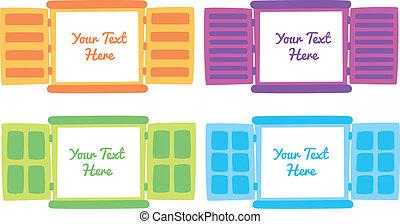 finestra, copia, cartone animato, spazio