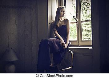 finestra, donna