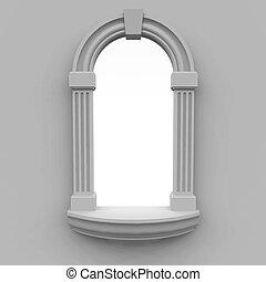 finestra, eseguito, in, classico, stile, con, uno, tipo, su, uno, sfondo bianco