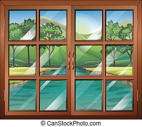 finestra, fiume, fluente