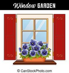 finestra, giardino, azzurro cielo, viola del pensiero, fiori, in, argilla, piantatore